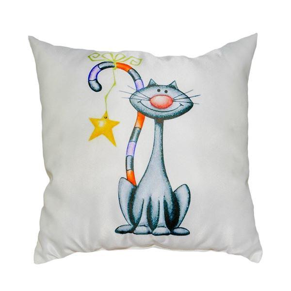 Снимка на Декоративна възглавница - Котка с шарена опашка 33
