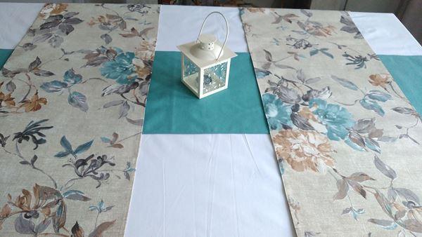Снимка на Комплект Декоративни ленти за маса  - Сини цветя - 35/180 и 2бр. 35/110