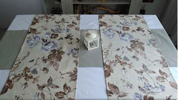 Picture of Комплект Декоративни ленти за маса  - Сиви цветя - 40/175 - 2бр. 40/135