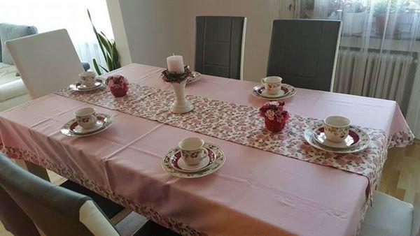 Снимка на Комплект Покривка за маса с лента Цветя- различни размери