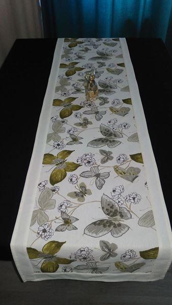 Picture of Декоративна лента  - Зелени Пеперуди с бял кант